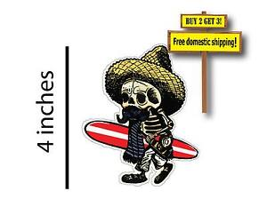 Day of the Dead Walking Skeleton Surfer Paddle Board Car Truck Sticker Decal P95