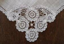 True Vintage Brussels Lace Wedding Hanky Handmade White Bridal Linen