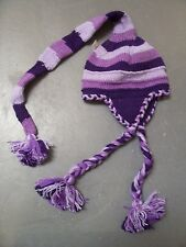 Wool knit long tail pompom funky earflap tassles beanie Nepal made Gypsy Hippy