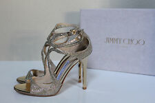 New sz 10 / 40 Jimmy Choo Lang Strappy Gold Glitter Ankle Cage Sandals Shoes