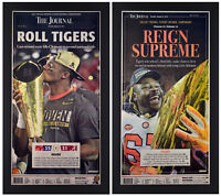 Clemson Tigers 2016 & 2018 CFP Champions Set of 2 Newspaper Covers Framed!