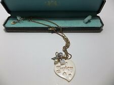 Juicy Couture CHARM Necklace Angel Wing CROWN Crystals MIB