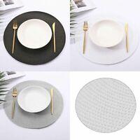 4Pcs Round Jacquard Weaved Non Slip Placemats Dining Table Place Mats Set UK@