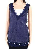 Tribal Women Tank Top Blue Size 2X Plus Satin Polka Dot Lace-Trim V-Neck $58 868