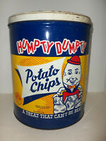 Vintage Humpty Dumpty Brand Potato Chips Metal Advertising Can Tin Litho w Lid
