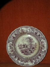 ANTIQUE STAFFORDSHIRE ENOCH WOOD BELZONI MULBERRY TRANSFERWARE PLATE 9 1/4""