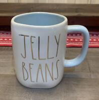 Rae Dunn - LL JELLY BEANS Gold Lettering - Blue Ceramic Coffee Mug - Easter
