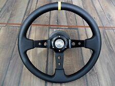 Mercedes Benz Sport Deep Dish Badge Leather Steering Wheel 350MM W123 W124 W201