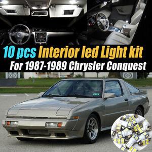 10Pc Super White Car Interior LED Light Bulb Kit for 1987-1989 Chrysler Conquest