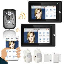 Wireless 7 Inch LCD 2 Monitor WIFI Video Intercom Phone Doorbell+alarm system