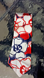 """Tie Patriotic Red White Blue Mens Political  1960-70 Polyester  4.0"""" x 58"""""""