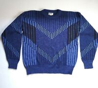 Repage Vintage 1980s Blue Knit Sweater Retro Cosby Holiday Medium Made in Greece