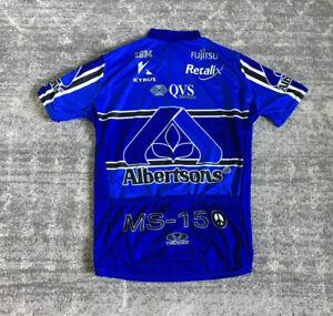 Voler Albertsons Mens M Cycling Shirt Blue Full Zip Short Sleeve EUC E5