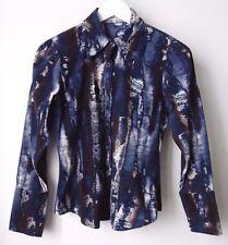 CHEMISE veste JACQUELINE RIU T36 coton mille raie Bleu état NEUF superbe
