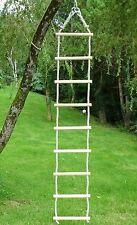 Strickleiter mit Eschenholz-Sprossen 4,0m lange Leiter, Polyhanfseile 12mm