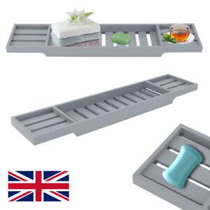 Black/Grey Bamboo Wood Bath Tub Rack Bathroom Storage Tidy Tray Caddy Organiser