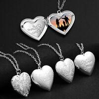 Fashion Photo Frames Locket Necklace Silver Heart Can Open Pendant Memorial Gift