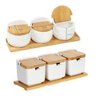 Set of 3 Spice Rack Wood Seasoning Container Storage Jar Kitchen Condiment Salt
