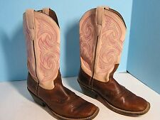LADIES UNBRANDED PINK OVER BROWN SQUARE TOE COWBOY WESTERN BOOT SIZE 6.5 M