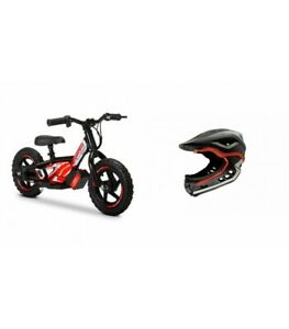 """Amped A10 12"""" Kids Electric Balance Bike Combo Black/Red With Revvi Helmet"""