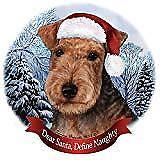 Holiday Pet Gifts Lakeland Terrier Dog Santa Hat Porcelain Ornament