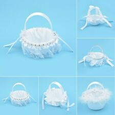 Flower Basket Lace Decorated Satin Flower Girl Basket Wedding Flower Holder 1pc