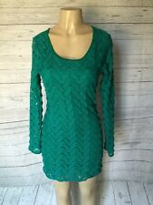 Free People Emerald Green Lace Long Sleeve Dress Size M