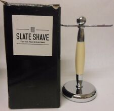Razor and Shaving Brush Stand by Slate Shave - Faux Ivory and Chrome Holder C34