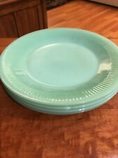 Vintage Fire King Jane Ray JADEITE Glass DINNER PLATES x 4 Anchor Hocking Green