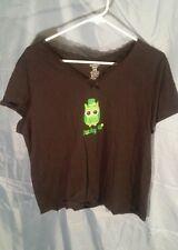 "Simply Basic Women's Sleep/Lounge Shirt Black w/ Owl ""Lucky Me"" sz XL (16-18)"