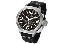 TW Steel TW4 Men's Canteen Chronograph 50mm Black Dial Leather Watch