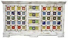 Moroccan Ceramic Tile Shabby Chic Country Sideboard Storage Indian Buffet
