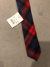 NEW J. CREW MEN'S COTTON TIE in Red/Blue PLAID Handmade in USA