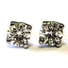 New 14k white gold .56ct diamond solitaire stud earrings 1g vintage estate VS1 F