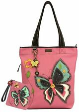 New Chala Everyday Big Tote Bag BUTTERFLY Zip Tote Bag & Wallet Combo Pink gift
