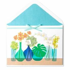 Papyrus Thank You Card- Gorgeous Laser-Cut Flowers Orchids in Blue Vases Ribbon