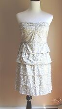 J Crew Cotton Gray Strapless Lined Sundress Size:8 Perfect Condition!!