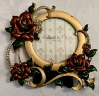 "Collette et Cie Round Picture Frame Enamel Flowers Bow Crystal 3"" x 3"""