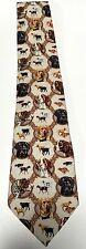 Men's Dogs Neck Tie Golden Retriever Black Labrador Spaniels 100% Silk