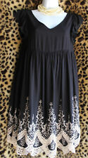 ALTERED STATE Black Dress Beige Crochet Sz S Cap Sleeve Lined Rayon Party