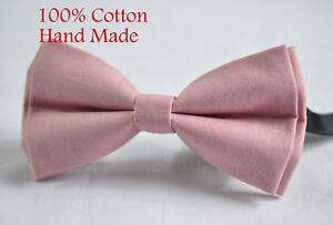 Men Men's 100% Cotton Dusky Dusty Rose Pink Blush Pink Bow Tie Bowtie Wedding