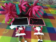 Christmas Tree Decorations 3 asst spotty ribbon ball  5 pieces multi colours