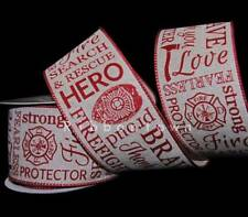 10 Yards Firefighter Fireman Hero Badge Fire Search Rescue Red Wired Ribbon 2 1/