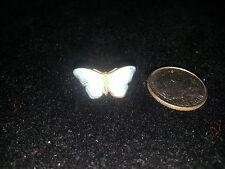 Butterfly Pin Brooch white blueGuilloche Enamelart deco c clasp