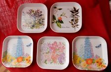 Melamine Flower Botanical Individual Cocktail trays Italy 5 1/2 inches square