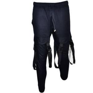 Pantaloni tuta cargo uomo nero con tasconi laterali con laccio in vita comodo ca