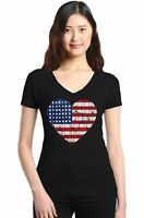 Distressed American Flag Heart Women's V-Neck T-shirt 4th of July USA Flag Tee