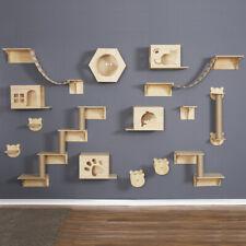 Wall Mounted Cat Tree Wood Hanging Platform  Jumping Frame Climbing Scratching