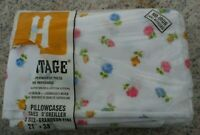 "Heritage New Flat Fitted Pillowcase Blue Rose Yellow 21"" x 33"" Made USA Vintage"