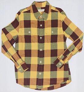 Tucker + Tate Mustard Maroon Green Check Collared Button Down Shirt Size 7-8 EUC